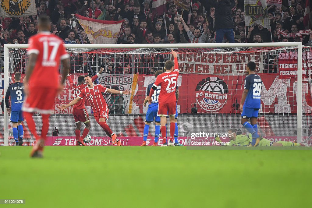 Sandro Wagner of Muenchen (2) celebrates after he scored a goal to make it 5:2 during the Bundesliga match between FC Bayern Muenchen and TSG 1899 Hoffenheim at Allianz Arena on January 27, 2018 in Munich, Germany.