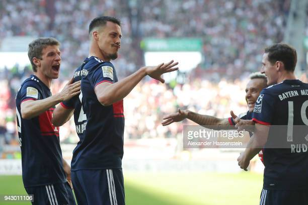 Sandro Wagner of Muenchen celebrates after he scored a goal to make it 14 during the Bundesliga match between FC Augsburg and FC Bayern Muenchen at...