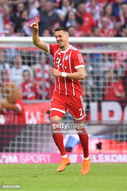 Sandro Wagner of Muenchen celebrates after he scored a goal to make it 11 during the Bundesliga match between FC Bayern Muenchen and Borussia...