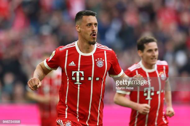 Sandro Wagner of Muenchen celebrates after he scored a goal to make it 21 during the Bundesliga match between FC Bayern Muenchen and Borussia...
