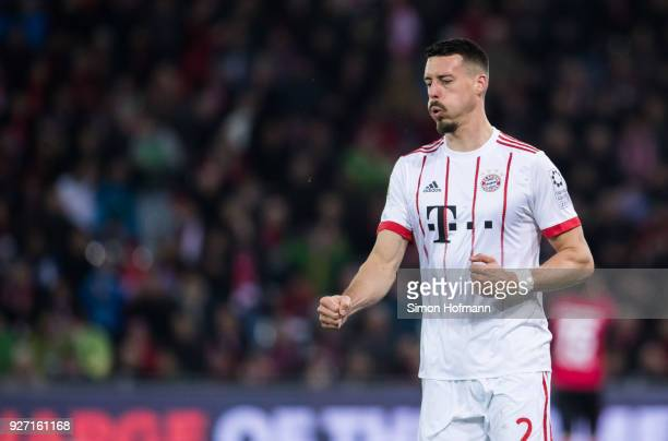 Sandro Wagner of Muenchen celebrates his team's third goal during the Bundesliga match between SportClub Freiburg and FC Bayern Muenchen at...