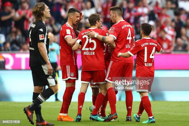 Sandro Wagner of Muenchen celebrates wit his team after he scored a goal to make it 11 during the Bundesliga match between FC Bayern Muenchen and...