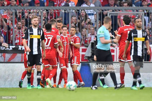 Sandro Wagner of Muenchen celebrates with his team after he scored a goal to make it 11 during the Bundesliga match between FC Bayern Muenchen and...