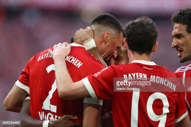 Sandro Wagner of Muenchen celebrates with his team after he scored a goal to make it 21 during the Bundesliga match between FC Bayern Muenchen and...