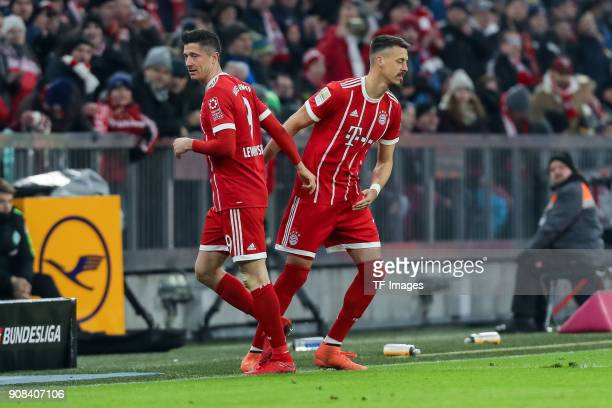 Sandro Wagner of Muenchen comes on as a substitute for Robert Lewandowski of Muenchen during the Bundesliga match between FC Bayern Muenchen and SV...