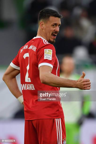 Sandro Wagner of Muenchen gives a thumbs up during the Bundesliga match between VfL Wolfsburg and FC Bayern Muenchen at Volkswagen Arena on February...