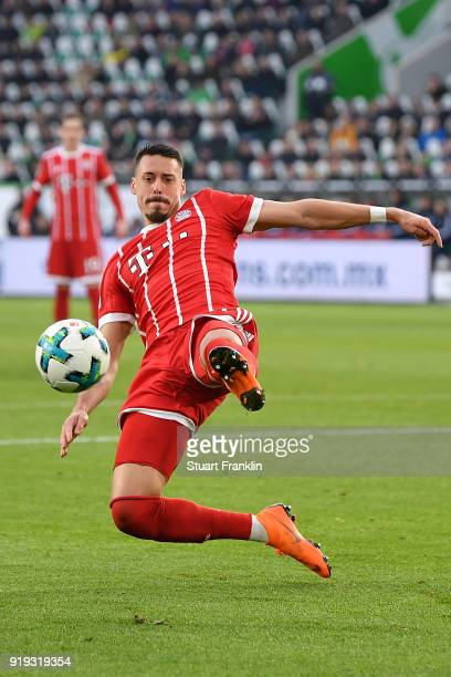 Sandro Wagner of Muenchen plays the ball during the Bundesliga match between VfL Wolfsburg and FC Bayern Muenchen at Volkswagen Arena on February 17...