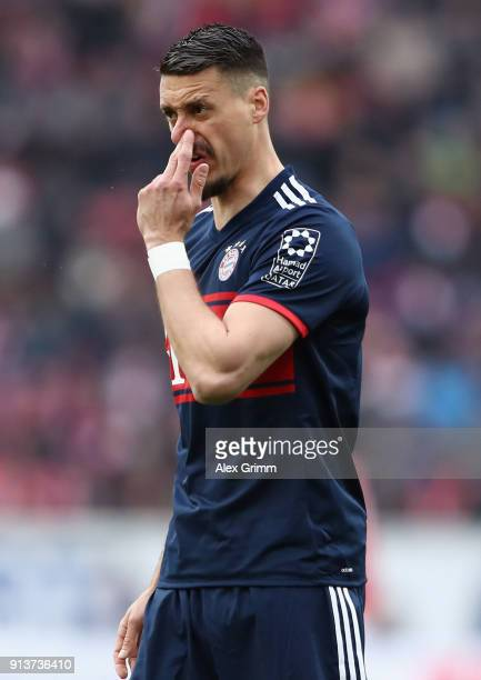 Sandro Wagner of Muenchen reacts during the Bundesliga match between 1 FSV Mainz 05 and FC Bayern Muenchen at Opel Arena on February 3 2018 in Mainz...