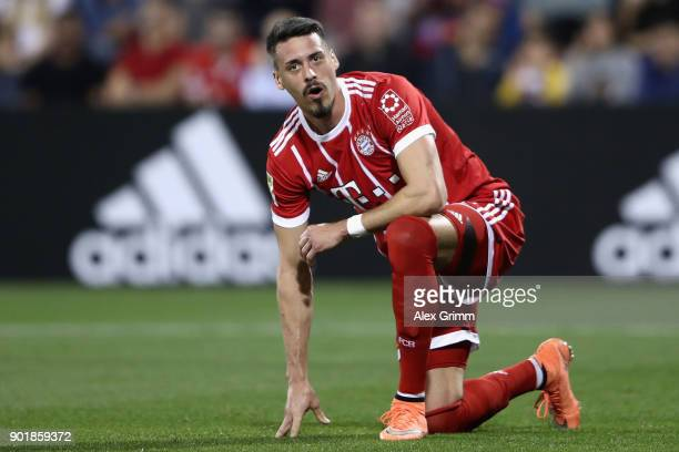 Sandro Wagner of Muenchen reacts during the friendly match between AlAhli and Bayern Muenchen on day 5 of the FC Bayern Muenchen training camp at...