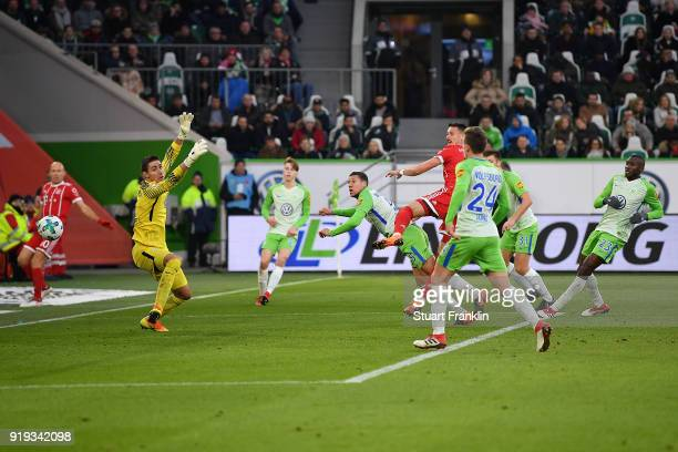 Sandro Wagner of Muenchen scores a goal past goalkeeper Koen Casteels of Wolfsburg to make it 11 during the Bundesliga match between VfL Wolfsburg...