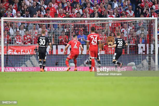 Sandro Wagner of Muenchen scores a goal to make it 11 during the Bundesliga match between FC Bayern Muenchen and Borussia Moenchengladbach at Allianz...