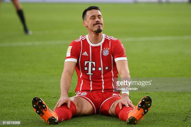 Sandro Wagner of Muenchen sits dejected on the pitch after missing a chance during the Bundesliga match between VfL Wolfsburg and FC Bayern Muenchen...