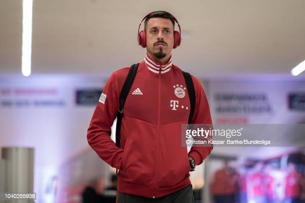 Sandro Wagner of Munich is seen prior to the Bundesliga match between FC Bayern Muenchen and FC Augsburg at Allianz Arena on September 25 2018 in...