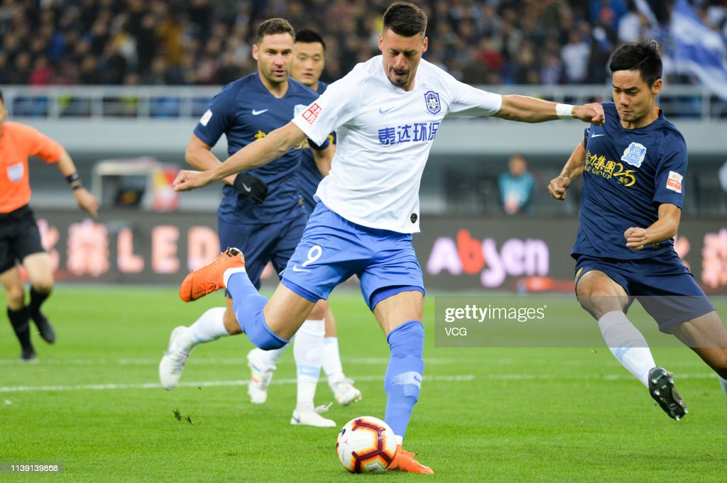 Sandro Wagner Of Tianjin Teda Shoots The Ball During The Third Round