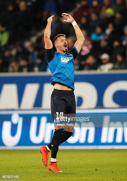 Sandro Wagner of TSG 1899 Hoffenheim celebrates scoring his second goal during the Bundesliga match between TSG 1899 Hoffenheim and 1 FC Koeln at...
