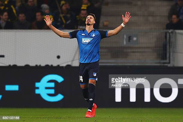 Sandro Wagner of TSG 1899 Hoffenheim celebrates scoring his teams second goal of the game during the Bundesliga match between TSG 1899 Hoffenheim and...