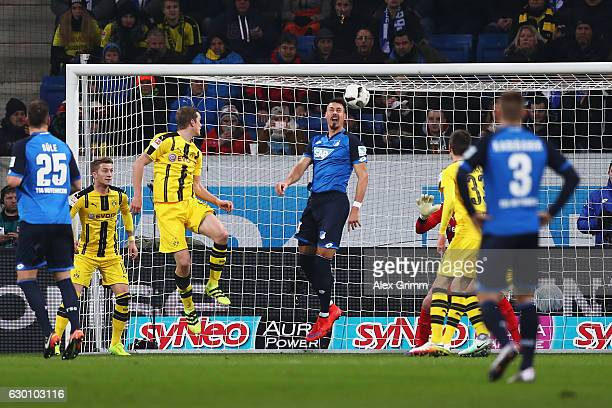 Sandro Wagner of TSG 1899 Hoffenheim heads and scores his teams second goal of the game during the Bundesliga match between TSG 1899 Hoffenheim and...