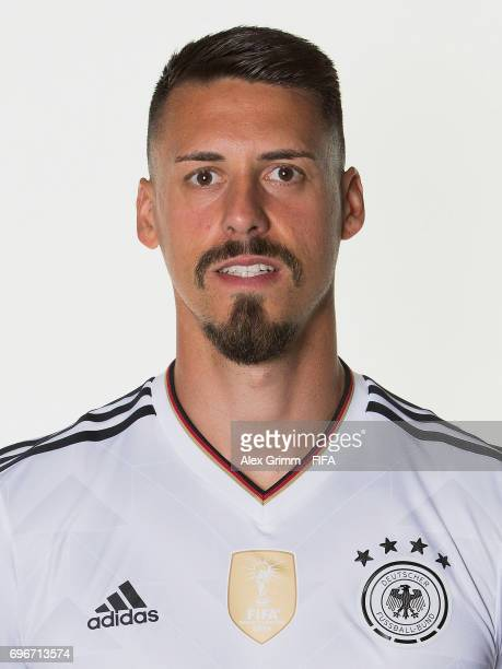 Sandro Wagner poses for a picture during the Germany team portrait session on June 16 2017 in Sochi Russia