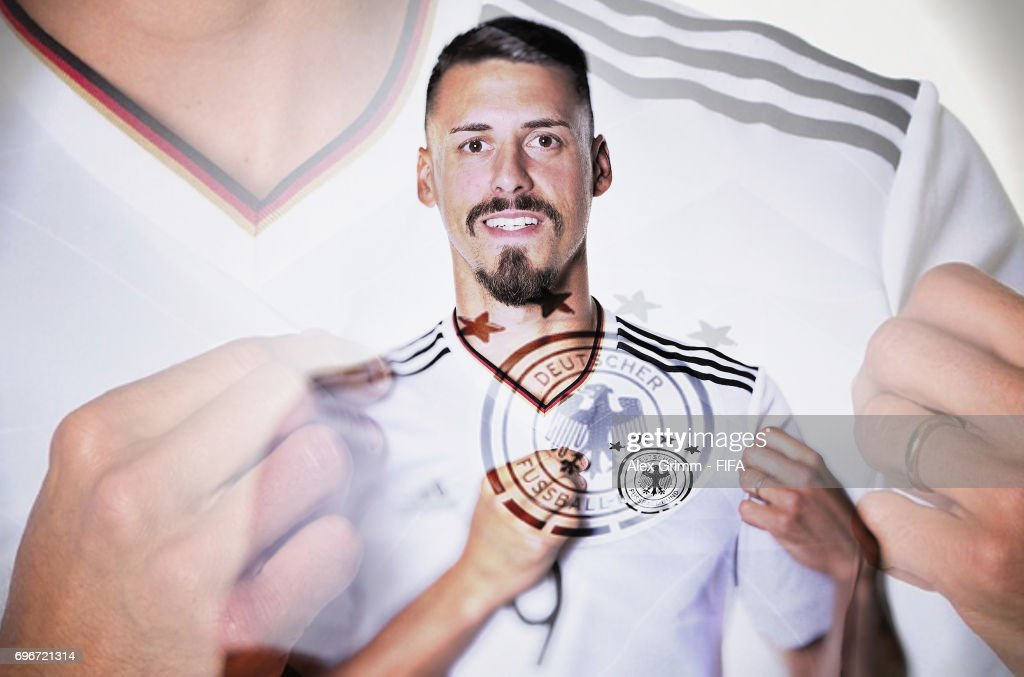 Sandro Wagner poses for a picture during the Germany team portrait session on June 16, 2017 in Sochi, Russia.