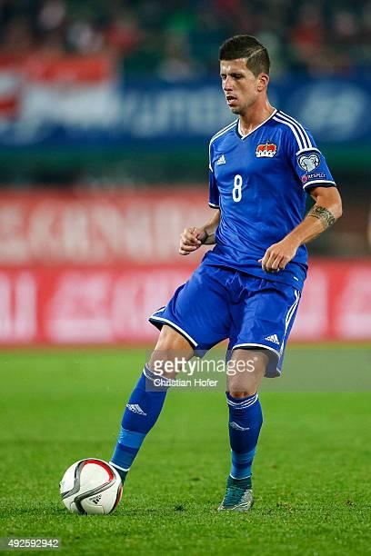Sandro Wieser of Liechtenstein controls the ball during the UEFA EURO 2016 Qualifier between Austria and Liechtenstein at Ernst Happel Stadion on...