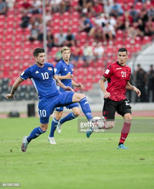 Sandro Wieser of Liechtenstein in action during the 2018 FIFA World Cup Qualifications Group G match between Albania and Liechtenstein at Elbasan...
