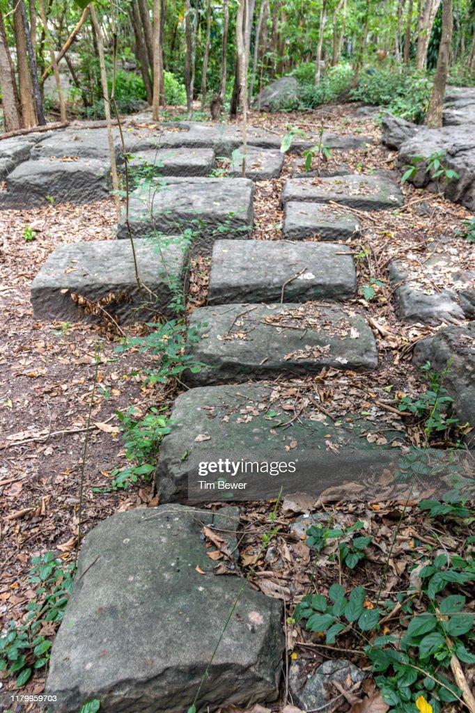 Sandstone blocks in a quarry. : Stock Photo
