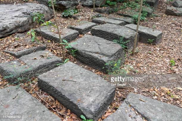 sandstone blocks in a quarry. - tim bewer stock pictures, royalty-free photos & images