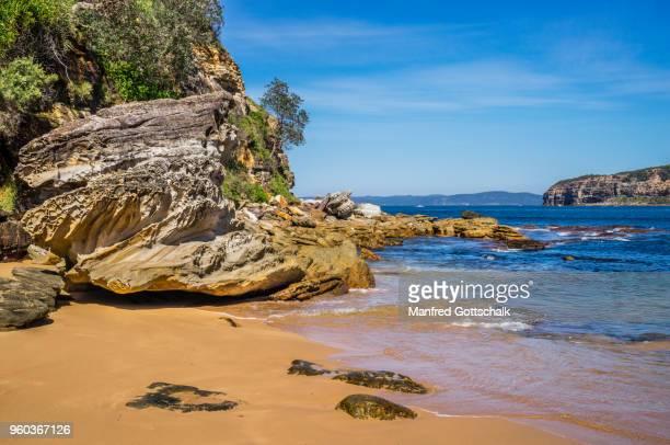 sandstone boulders at Maitland Bay, Bouddi National Park, Central Coast, New South Wales