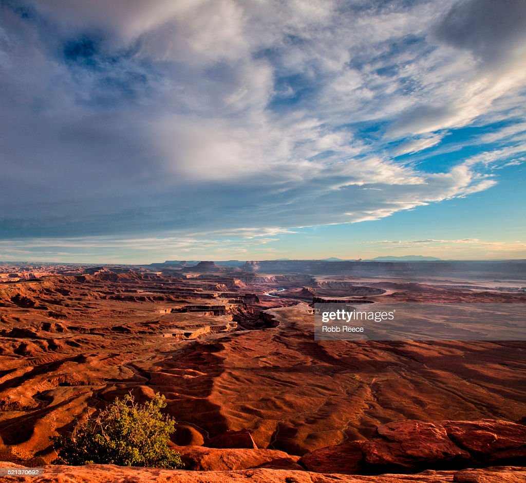 Sandstone canyons and the White Rim in Canyonlands National Park, Utah, U.S.A : Stock Photo