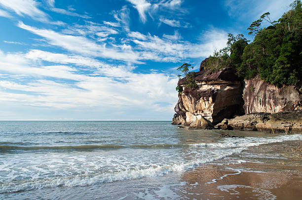 Sandstone cliffs by ocean at Telok Pandan Kecil beach.
