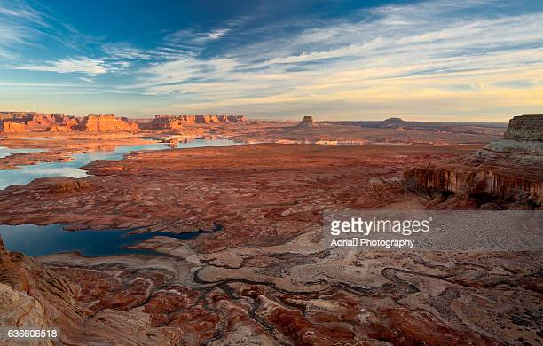 sandstone erosion landscape at alstrom point at lake powell - moab utah stock photos and pictures