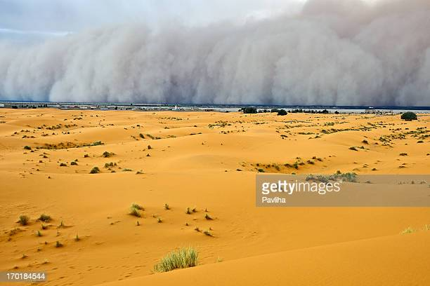 Sandstorm Approaching Merzouga Settlement Morocco