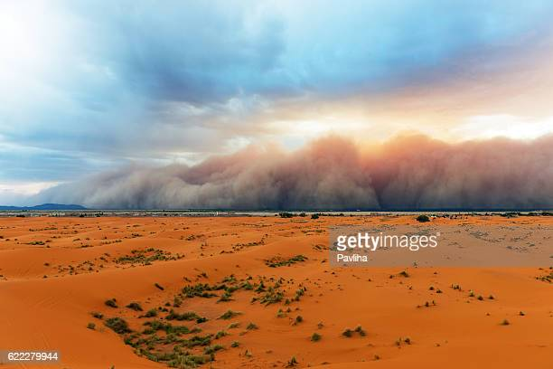 sandstorm approaching merzouga settlement,in erg chebbi desert morocco,africa - sahara stock pictures, royalty-free photos & images