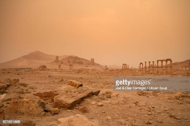 Sandstorm at dawn over Palmyra, Syria.