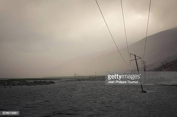 Sandstorm over Panj river in Tajikistan
