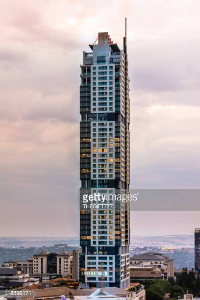 sandton city at dusk with the leonardo building - sandton stock pictures, royalty-free photos & images