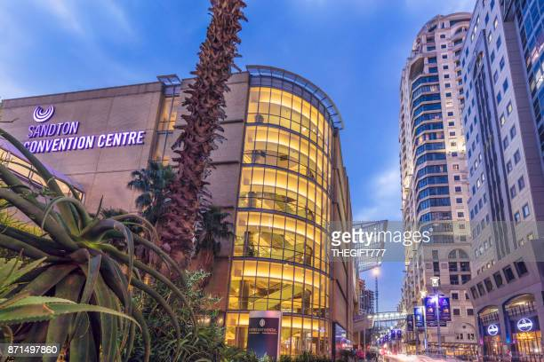 sandton convention centre in the evening, johannesburg - sandton stock pictures, royalty-free photos & images