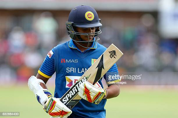 Sandun Weerakkody of Sri Lanka leaves the field during the 1st One Day International match between South Africa and Sri Lanka at St Georges Park on...