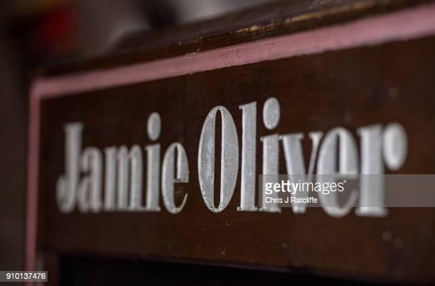 A sandwich board outside Jamie Oliver's restaurant Jamie's Diner Piccadilly as his chain of Italian restaurants was forced to pull meat dishes from...