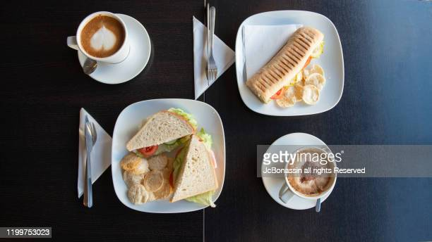 sandwich breakfast - jcbonassin stock pictures, royalty-free photos & images