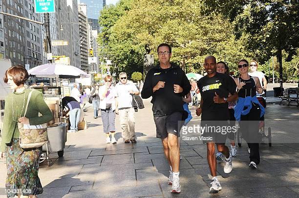 SUBWAY sandwich enthusiast Jared Fogle and U S Runner Meb Keflezighi the 2009 ING New York City Marathon winner train for the ING New York City...