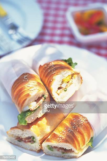 sandwich, high angle view - groupe moyen d'objets photos et images de collection