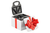 sandwich maker inside gift box, gift concept. 3D rendering isolated on white background