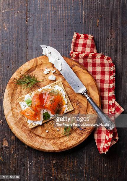 Sandwich on Crisp bread with Smoked salmon and soft Cream cheese