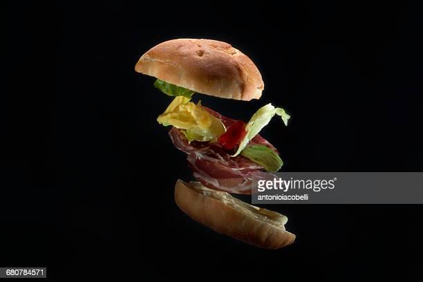Sandwich roll flying through the air