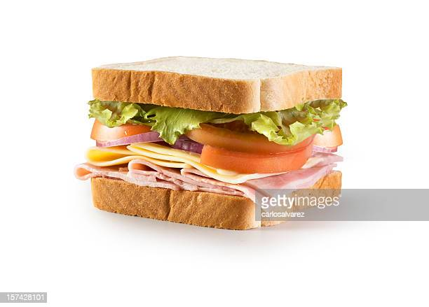 sandwich w/clipping path - ham stock pictures, royalty-free photos & images