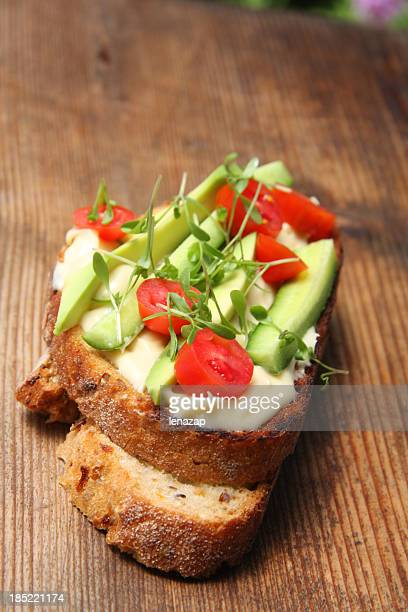 Sandwich with  Bearnaise sauce, healthy bread  and vegetables