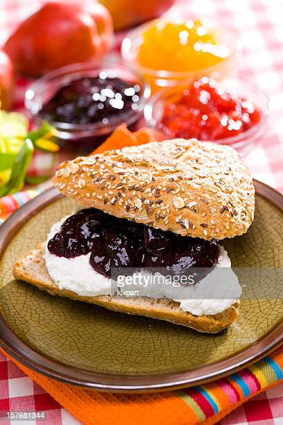 Sandwich with cheese and jam
