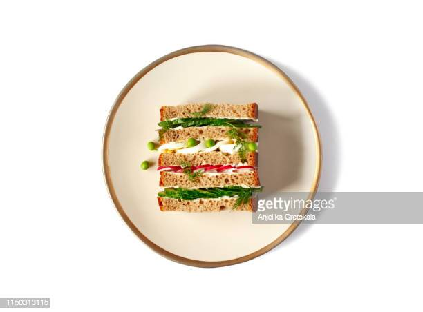 sandwich with cucumber, radish and egg. spring sandwich - sandwich stock pictures, royalty-free photos & images
