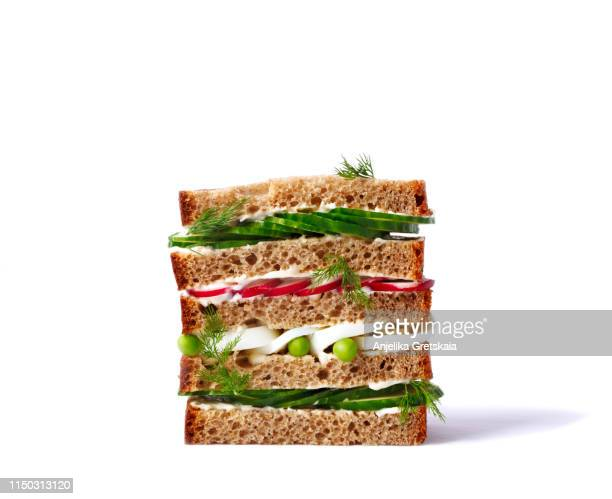 sandwich with cucumber, radish and egg. spring sandwich - lunch stock pictures, royalty-free photos & images